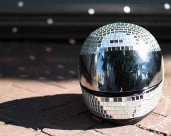 DISCO HELMET 2020 (CUSTOM Glamourous Disco Ball Mirror Tile Motorcycle Helmet for Burning Man, Festivals, Raves, and Everyday Dancing)