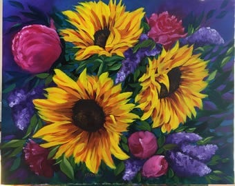 BURSTING BOUQUET original oil painting