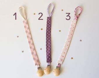 Attache tétine en tissu et clip en bois, 3 modèles au choix