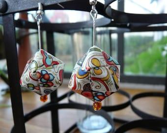 Origami earrings multicolor cubes