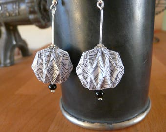 Origami earrings paper blancstrie balls