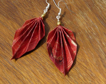 Origami earrings red gold purple paper