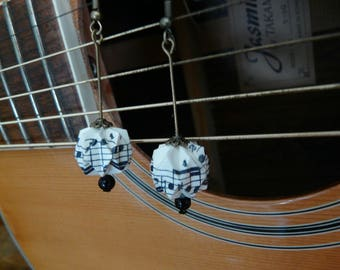 Origami earrings small music notes paper balls
