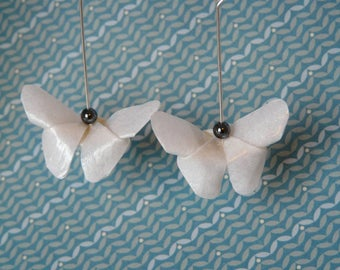 Mother of Pearl ivory white origami butterfly earrings