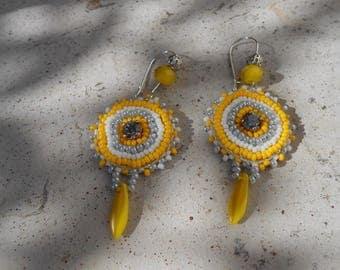"Embroidered ""Sunshine"" beaded earrings"