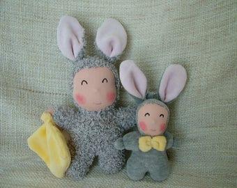 Plush Twins poupidou rabbit and his twin keychain