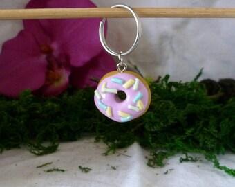 Strawberry donut keychain