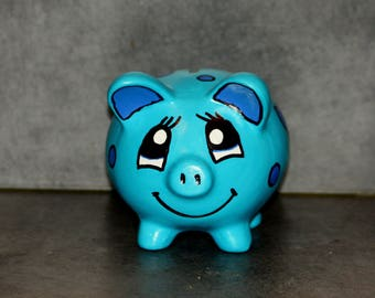 Kids Blue ceramic pig piggy bank