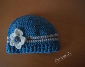 Girl Flower hat handmade crochet with acrylic yarn