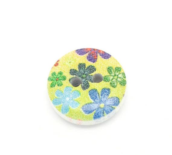 BBR15215 - 4 BUTTONS ROUND 15 MM WOODEN PATTERN WITH COLORS