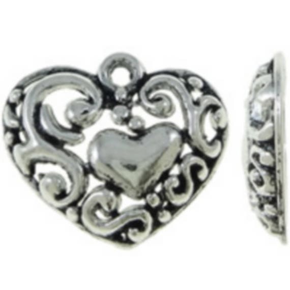 """Set of 5 charms """"Heart"""" silver plated size 20, 5 x 17, 5 mm"""
