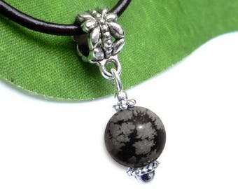 Silver plated - speckled Obsidian sphere pendant