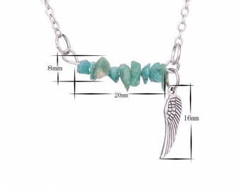 silver plated silver necklace amazonite chips