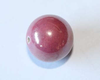 round pink ceramic bead, 20 mm