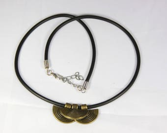 beautiful ethnic necklace, full black rubber cord