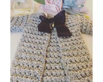 Hand crocheted cotton baby cardigan