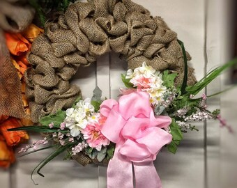 Spring Inspired Burlap Wreath