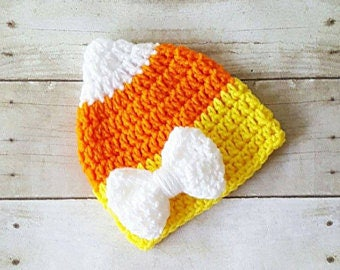 Crochet candy corn hats