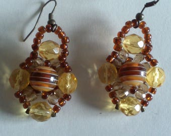 Earrings Brown and ochre