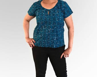 Tunic blouse ethnic pattern turquoise birds wax