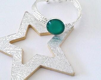 Green cabochon silver Cuff Bracelet