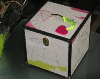 French vanity travel or lime green and pink box
