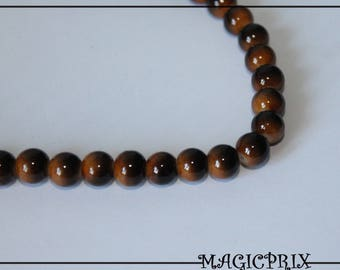 Set of 25 stained ochre 8 mm glass beads & Brown 1412