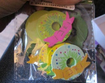 set of colorful wooden wreaths