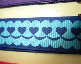 1 meter of Ultramarine and sky blue hearts Ribbon