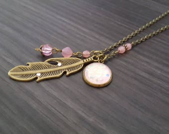 Large pink feather necklace