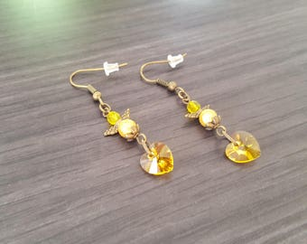 Yellow heart Angel Earrings