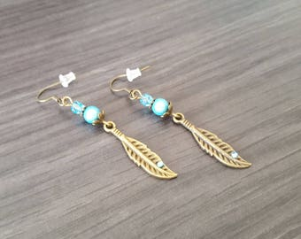 Rhinestone Turquoise feather Earrings