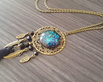 DreamCatcher black tassel necklace