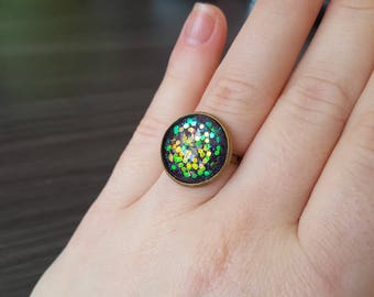 Purple Cabochon Adjustable ring
