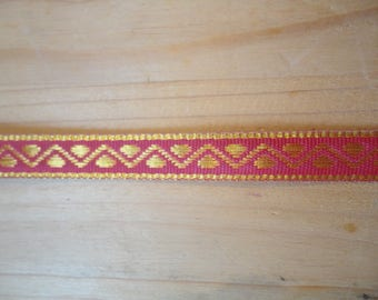 beautiful gold and pink woven Ribbon width 1 cm