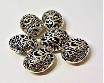 set of 2 oval, openwork Tibetan beads