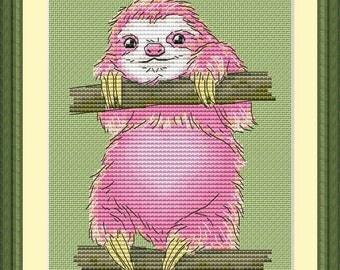 Sloth pink Cross Stitch Pattern Animal pattern Modern cross stitch pattern PDF Embroidery room wall decor