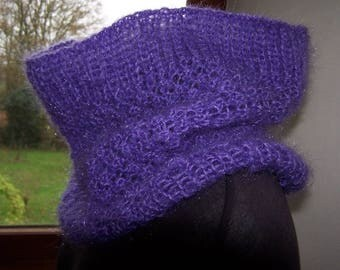 Snood soft handknitted purple mohair