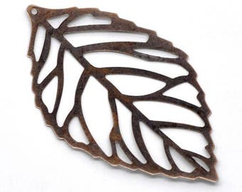 set of 10 bronze charms hanging leaf filigree 54 x 32 mm