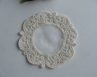 arabesque flowers round flat 7.5 cm cream cotton lace embroidery applique
