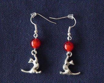 Cat 3D red ball earrings