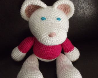 Crochet Pink White Teddy bear with sweater