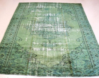 """Vintage Overdyed Turkish Rug, Handmade, Green, 7 feet 1 inches by 9 feet 2 inches (7'1""""x9'2"""")"""