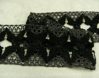 FANCY Ribbon - 6 cm-black - with lurex gold