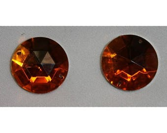 round rhinestone - 25 mm - orange