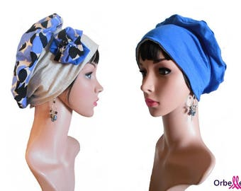 """""""Ashley"""" REVERSIBLE chemo Cap & its removable fabric flower"""