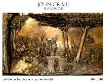 Bas relief wall mounted bronze relief sculpture depicting the festival of Bacchus in ancient times.