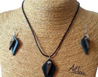 Wood jewelry / slate - set jewelry