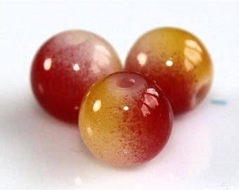Set of 10 two tones of glass pearls 8mm red/yellow - 1504