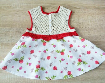 Knit dress, multi-dress, fishnet dress, dress for girl 3-6 months summer dress